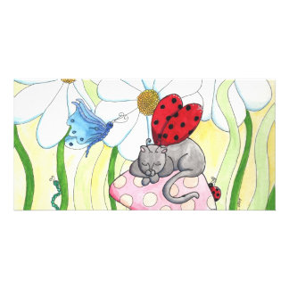 Ladybug Fairy Cat Photo Greeting Card