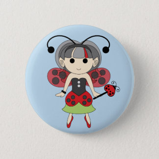 Ladybug Fairy Red Fairies Pinback Button Blue Back
