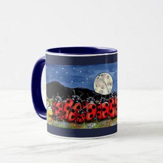 Ladybug  Family Moon Night Design Navy Blue Mug
