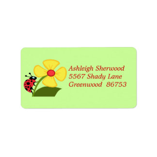 Ladybug/Flower Address Label