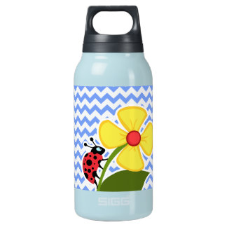 Ladybug & Flower; Blue Chevron Pattern Insulated Water Bottle