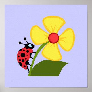 Ladybug Flower Print