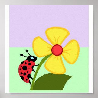 Ladybug Flower Posters