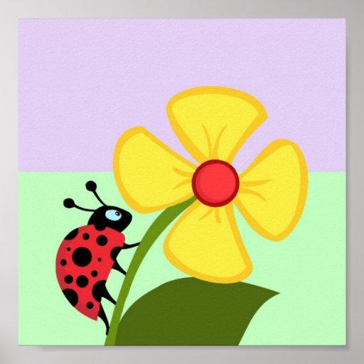 Ladybug Flower Poster