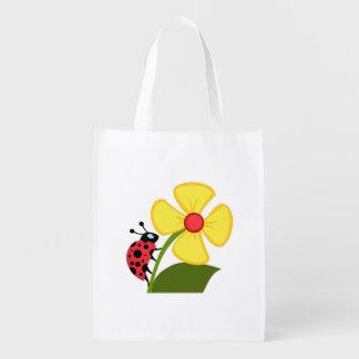 Ladybug Flower Reusable Grocery Bag