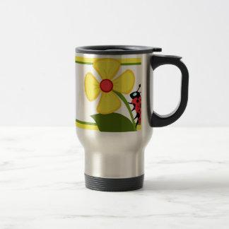 Ladybug Flower Travel Mug