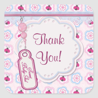 Ladybug Flowers Baby Shower - Thank You Square Sticker