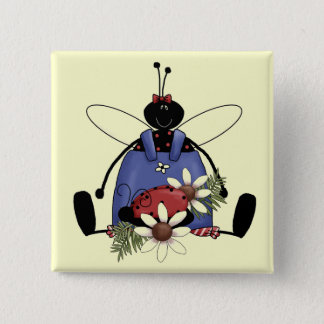 Ladybug Garden Tshirts and Gifts 2 Inch Square Button