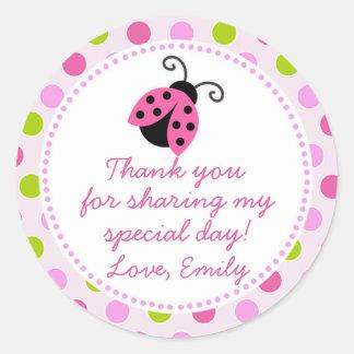 Ladybug Green Pink Gift Favour Label Round Sticker