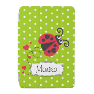 Ladybug green red polka flower art name ipad cover