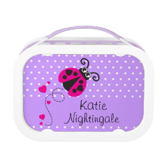Ladybug heart pink purple girls name lunch box