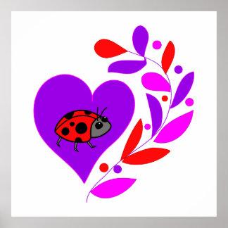 Ladybug Heart Print