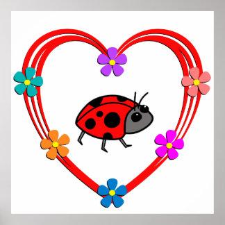 Ladybug Heart Poster
