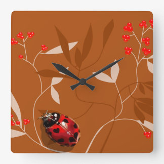 Ladybug heart shaped spots on red berry clock