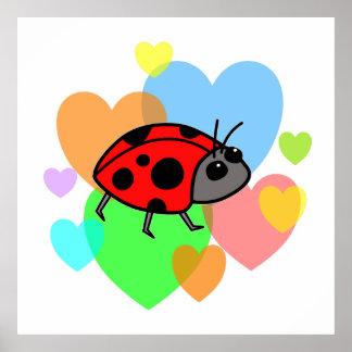 Ladybug Hearts Print
