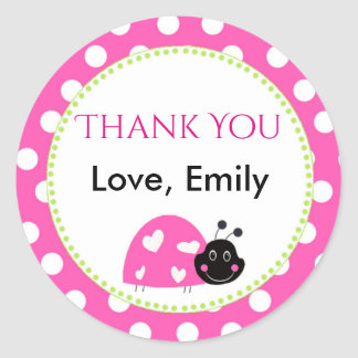 Ladybug Hot Pink Green Gift Favor Label Polka Dots Round Sticker