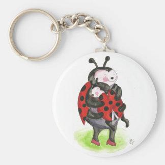 Ladybug hug basic round button keychain