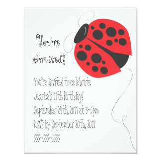 Ladybug illustration birthday invitation