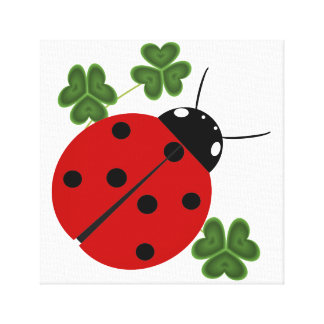 Ladybug in Clover Canvas Print