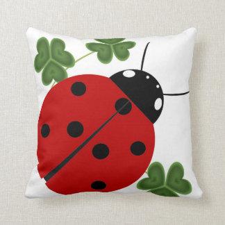 Ladybug in Clover Throw Pillow