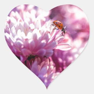 Ladybug in pink heart sticker