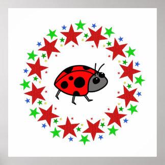 Ladybug in Stars Poster