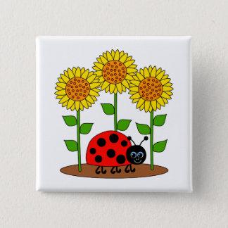 Ladybug in Sunflower Garden 2 Inch Square Button