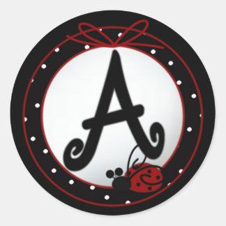 Ladybug Initial A Round Stickers