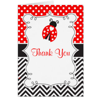 Ladybug Ladybird Birthday Party Thank You Card