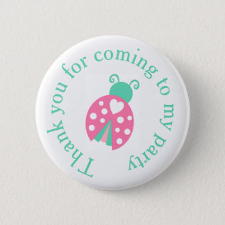 Ladybug Ladybird Birthday  'Thank you for coming' 2 Inch Round Button