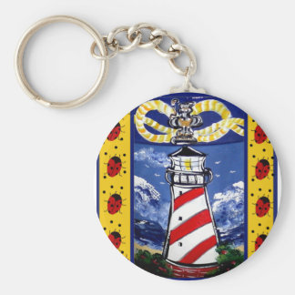 Ladybug Lighthouses Basic Round Button Keychain