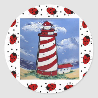 Ladybug Lighthouses Round Sticker