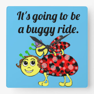 Ladybug Movie Buff Time for Bette Square Wall Clock