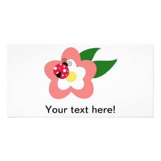 Ladybug on a flower clipart customized photo card