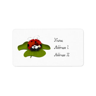 Ladybug on a green leaf personalized address labels