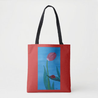 Ladybug on a Leaf with a Tulip Tote Bag