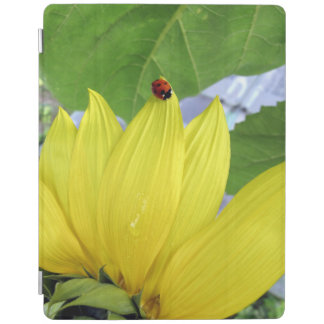 Ladybug on a sunflower iPad cover