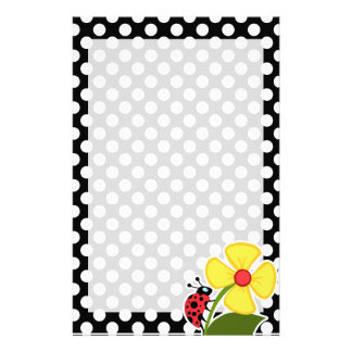 Ladybug on Black and White Polka Dots Custom Stationery