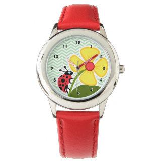 Ladybug on Celadon Chevron Watch