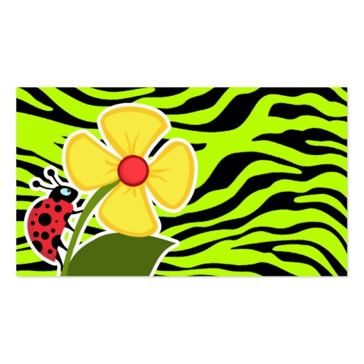 Ladybug on Chartreuse Zebra Stripes Animal Print Business Card Templates