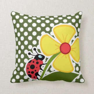 Ladybug on Dark Moss Green Polka Dots Throw Pillow