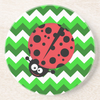Ladybug on Green Zigzag Coaster