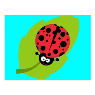 Ladybug on leaf postcard