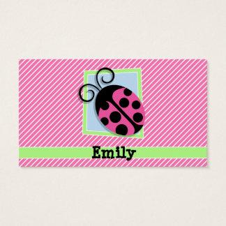 Ladybug on Pink & White Stripes Business Card