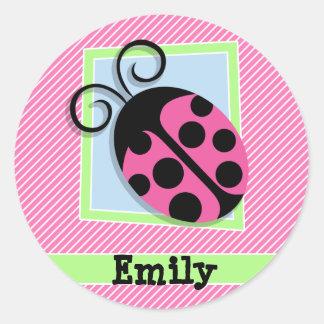 Ladybug on Pink & White Stripes Round Sticker