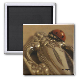 Ladybug on spoon fridge magnet