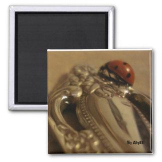 Ladybug on spoon square magnet