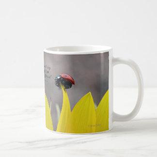 Ladybug on Sunflower Petal Coffee Mug