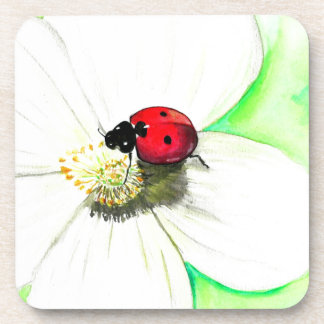 Ladybug on White Flower Beverage Coasters