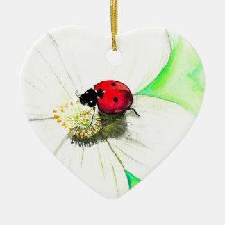 Ladybug on White Flower Ceramic Heart Ornament